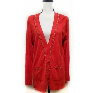 🎉Cache Coral Red Gold Embellished Open Cardigan🎉